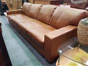 Sale 8672 - Lot 1026 - Plushthinking Genuine Leather Four-Seater Lounge