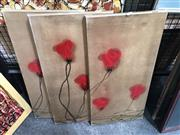 Sale 8819 - Lot 2106 - 3 Decorative Canvases Red Flowers