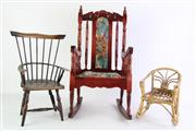 Sale 8860 - Lot 48 - Well Made Dolls Timber Rocking Chair (H: 50cm), A Wicker Example H: 23cm And A Windsor Chair (Broken Leg)