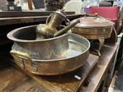 Sale 8876 - Lot 1098 - Collection of Copper Wares inc Burner Pans and Tea Pot
