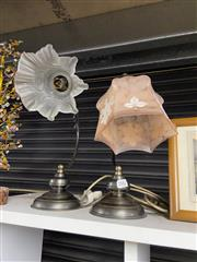 Sale 8912 - Lot 1059 - Tulip Glass Shade Table Lamp & Another (2)
