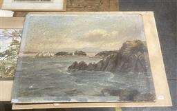 Sale 9111 - Lot 2086 - Samuel James Marchant Harbour Scene, oil on board together with watercolours by Henri Tevitt and other Australian artists, all unf...