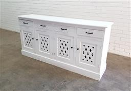 Sale 9129 - Lot 1031 - Painted timber sideboard with 4 drawers & doors (h91 x w190 x d44cm)