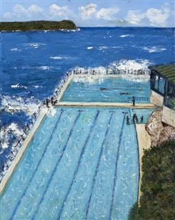 Sale 9174JM - Lot 5071 - STANELY PERL (1942 - ) Bondi Baths acrylic on canvas 51 x 41 cm inscribed and titled verso