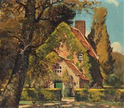 Sale 9190H - Lot 13 - Robert Edgar Taylor Ghee Captain Cooks Cottage, Oil on canvas, 32cm x 37cm signed lower centre.