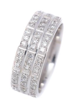 Sale 9191H - Lot 67 - AN 18CT WHITE GOLD DIAMOND SET BAND; half hoop set with 54 single cut diamonds totalling approx. 1.00ct arranged in 3 rows in groups...