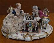 Sale 8313A - Lot 10 - An Unterweissbach table centrepiece, The Chess Players, length 45cm