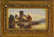 Sale 8325 - Lot 580 - Ludwig Hermann Van Hoom (1812 - 1881) - Untitled (European Town and River Scene) 24 x 46cm