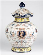 Sale 8350L - Lot 38 - A French provincial style hand painted polychrome lidded jar, H 45cm, RRP $ 900