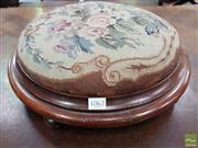 Sale 8485 - Lot 1062 - Victorian Walnut Round Footstool, with floral tapestry top