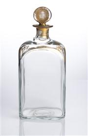 Sale 8528A - Lot 68 - A Georgian square section decanter with gilded decoration and original gilded stopper, total H 15cm