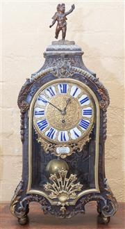 Sale 8550H - Lot 64 - A large and impressive antique French Boulle style bracket clock by Jean Godde Laisne au Paris, with cherub surmount, brass detailin...
