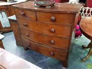 Sale 8559 - Lot 1046 - Regency Mahogany Bow Front Chest of Five Drawers, with string inlay and splayed bracket feet