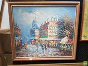 Sale 8573 - Lot 2026 - Artist Unknown - Paris Street Scene 57 x 65cm (frame)