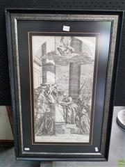Sale 8587 - Lot 2094 - After Titian Madonna of the Pesaro Family engraving, 73.5 x 49cm (frame)