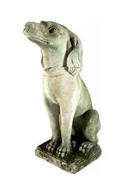 Sale 8586A - Lot 105 - An antique French carved stone seated dog garden statue, some wear/ old crack at neck and losses to base, H 63cm