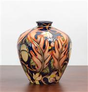 Sale 8774A - Lot 16 - A Moorcroft baluster vase in the autumn pattern designed by E Bossons limited edition 181-250 copyright 2001 initialled W M, H x 18cm