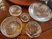 Sale 8990H - Lot 45 - A group of five assorted glass bowls and ashtrays, largest diameter 30cm