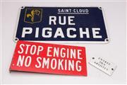 Sale 9052 - Lot 132 - A collection of 3 enamel signs (Smallest L 10cm Largest 45cm)