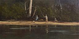Sale 9099A - Lot 5054 - Fay Joseph (1939 - ) - Family Fishing at Woronora River 29 x 59.4 cm (frame: 54 x 85 x 3 cm)