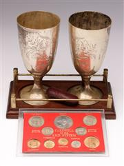 Sale 9078 - Lot 181 - A Pair Of Silver Plated Goblets On Stand Together With A Cased Coins Set And Cigar Holder