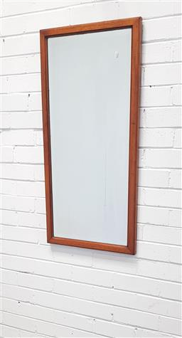 Sale 9108 - Lot 1088 - Timber framed bevelled edge mirror (h:103 x w:48cm)