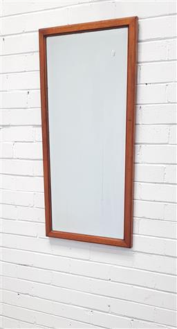 Sale 9108 - Lot 1088 - Timber framed bevelled edge mirror (h:103 x w:48cm)