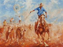 Sale 9133 - Lot 594 - Siegfried Schneider (1935 - ) Rounding out the Bulls, 1998 oil on canvas 29.5 x 39.5 cm (frame: 47 x 57 x 4 cm) signed and dated low...