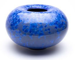 Sale 9150J - Lot 24 - A large and rare blue on blue transmutation glaze vase inscribed signature by the art potter Errol Barnes, Australia 90. NB. Errol ...