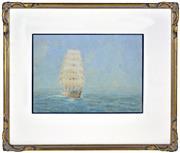 Sale 8394 - Lot 598 - Frederick Elliott (1864 - 1949) - Tall Ship at Sea 26.5 x 37.5cm