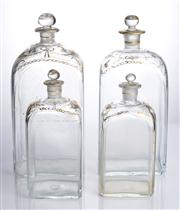 Sale 8528A - Lot 2 - Four late Georgian decanters, gilded decoration, with original gilded stoppers, largest H 26cm