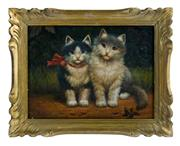 Sale 8586A - Lot 62 - European School - Two Cats 24 x 33 cm