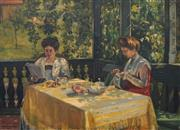 Sale 8683 - Lot 544 - Frank Frigyes (1890 - 1976) - Untitled (Women At Leisure, 1909) 72.5 x 101.5cm