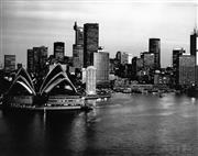 Sale 8721A - Lot 18 - Artist Unknown - Sydney Opera House and City in Evening, 1987 20 x 25cm