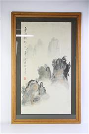 Sale 8757 - Lot 3 - Framed Hand Painted Chinese Artwork 100 x 62cm