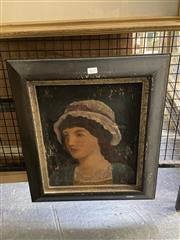 Sale 8895 - Lot 2027 - Artist Unknown - Untitled (Female Portrait), oil on canvas, 34.5 x 29.5cm, unsigned