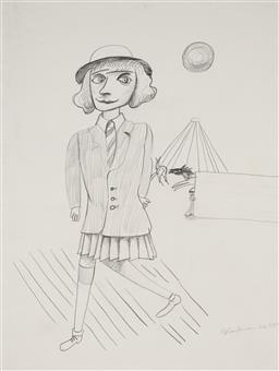 Sale 9133 - Lot 536 - Charles Blackman (1928 - 2018) Schoolgirl, 1952 pencil on paper 38.5 x 29 cm (frame: 69 x 58 x 3 cm) signed and dated lower right, w...