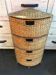 Sale 9034 - Lot 1044 - Metal and Wicker Corner Cabinet (H:81 W:40 D:28cm)