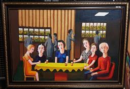 Sale 9155 - Lot 2036 - Leslie John Warner Annual Meet-Up oil on canvas, 97 x 137cm, unsigned -