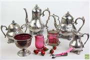 Sale 8490 - Lot 321 - Silver Plated Philip Ashberry & Sons Set incl Coffee Pot, Tea Pot, Lidded Sugar Container & Cream Jug with 3 Ruby Glass Containers
