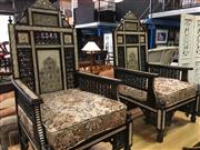 Sale 8657 - Lot 1075 - Mother of Pearl Inlaid Pair of Armchairs