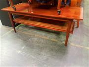 Sale 8661 - Lot 1037 - Teak Coffee Table with Rattan Shelf