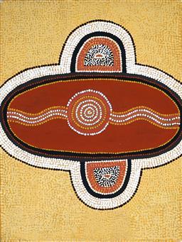 Sale 8958A - Lot 5027 - Turkey Tolson Tjupurrula (1942 - 2001) - Snake Dreaming, 1985 31 x 41cm (frame: 64 x 54 x 3 cm)