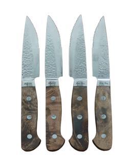 Sale 9138L - Lot 42 - Laguiole by Louis Thiers Artisan 4-Piece jumbo steak knife set - White burl wood handles