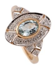 Sale 9095 - Lot 361 - A 9CT GOLD EDWARDIAN STYLE AQUAMARINE AND DIAMOND RING; millegrain set with a blue oval cut sapphire to surround and triangular form...