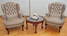 Sale 9098H - Lot 44 - A pair of Moran button back armchairs in viva pebble over short cabriole legs, ex David Jones 2007 Height of back 108cm x Width 80cm...