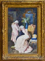 Sale 8325 - Lot 589 - Virgilio Colombo (XIX) - Salon Scene 60 x 45cm
