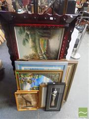 Sale 8483 - Lot 2098 - Group of 9 Paintings & Prints Including African Fur Mounted