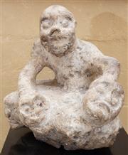 Sale 8550H - Lot 90 - An oriental stone sculpture figural group, H 21cm together with an associated black plinth, H 77cm