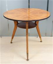 Sale 8703A - Lot 48 - A quarter veneered walnut tripod occasional lamp table of mid century design, diameter 70cm, H x 62cm
